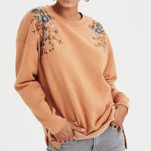 AE Flower Embroidered Brown Mustard Sweatshirt XS